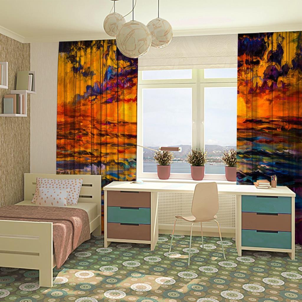baskılı fon perde yaglı boya etkili deniz manzara desenli
