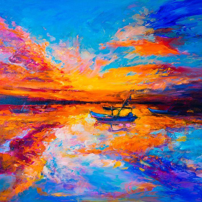 baskılı fon perde yağlı boya etkili gün batımı tekne desenli
