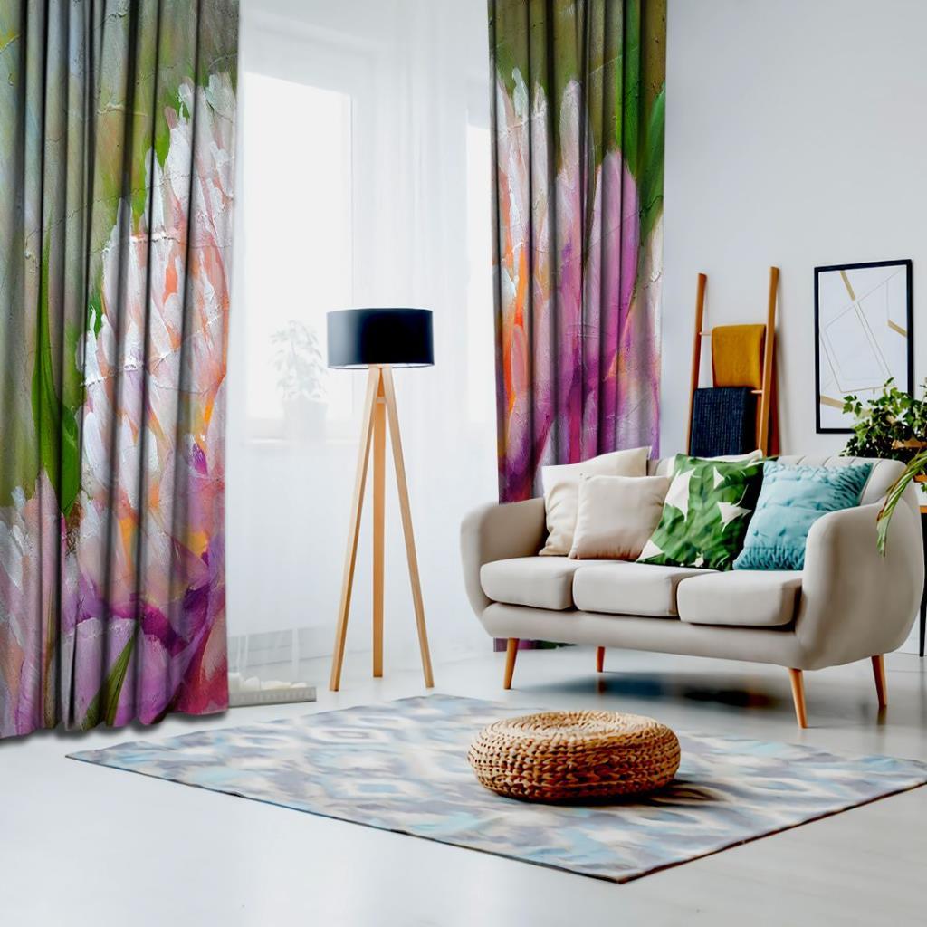 baskılı fon perde yağlı boya etkili pembe şakayık çiçek desenli