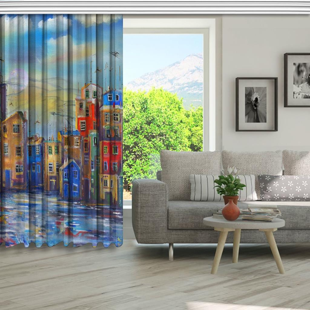 baskılı fon perde yağlı boya etkili ufak ev desenli