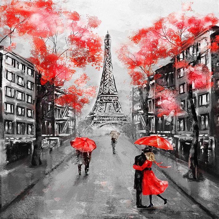 baskılı fon perde yağlıboya avrupa şehri manzarası kırmızı desenli