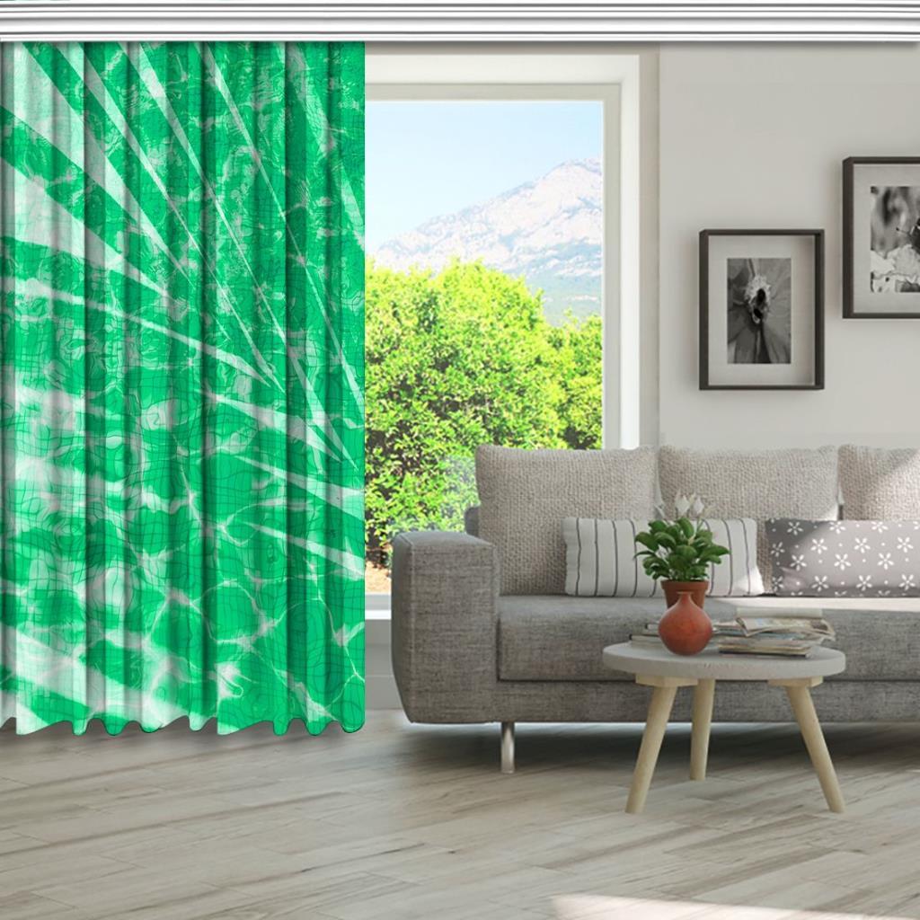 baskılı fon perde yakamoz etkili yeşil palmiye yaprak desenli