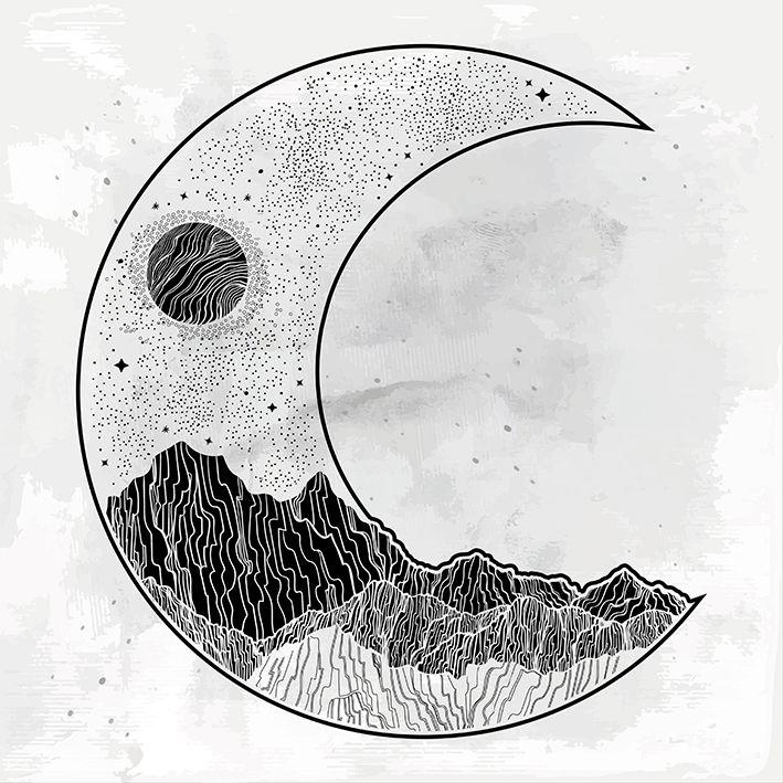 baskılı fon perde yarım ay ve dolunay etkili siyah ve bej desenli