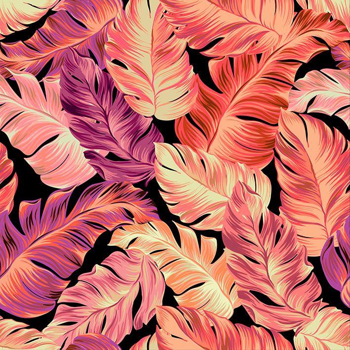 baskılı fon perde yavruağzı mor renkli tropik yaprak desenli