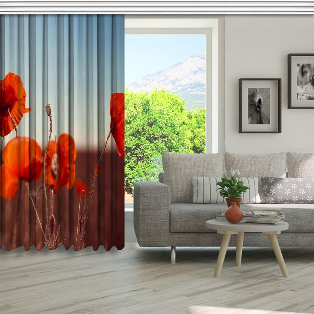 baskılı fon perde yaz etkili çayır çiçek desenli turuncu