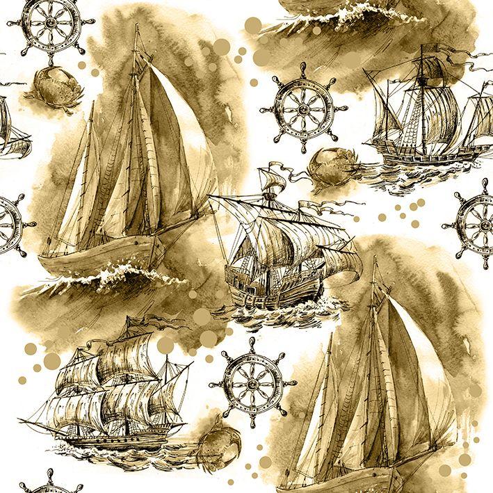 baskılı fon perde yelkenli gemi korsan gemi desenli