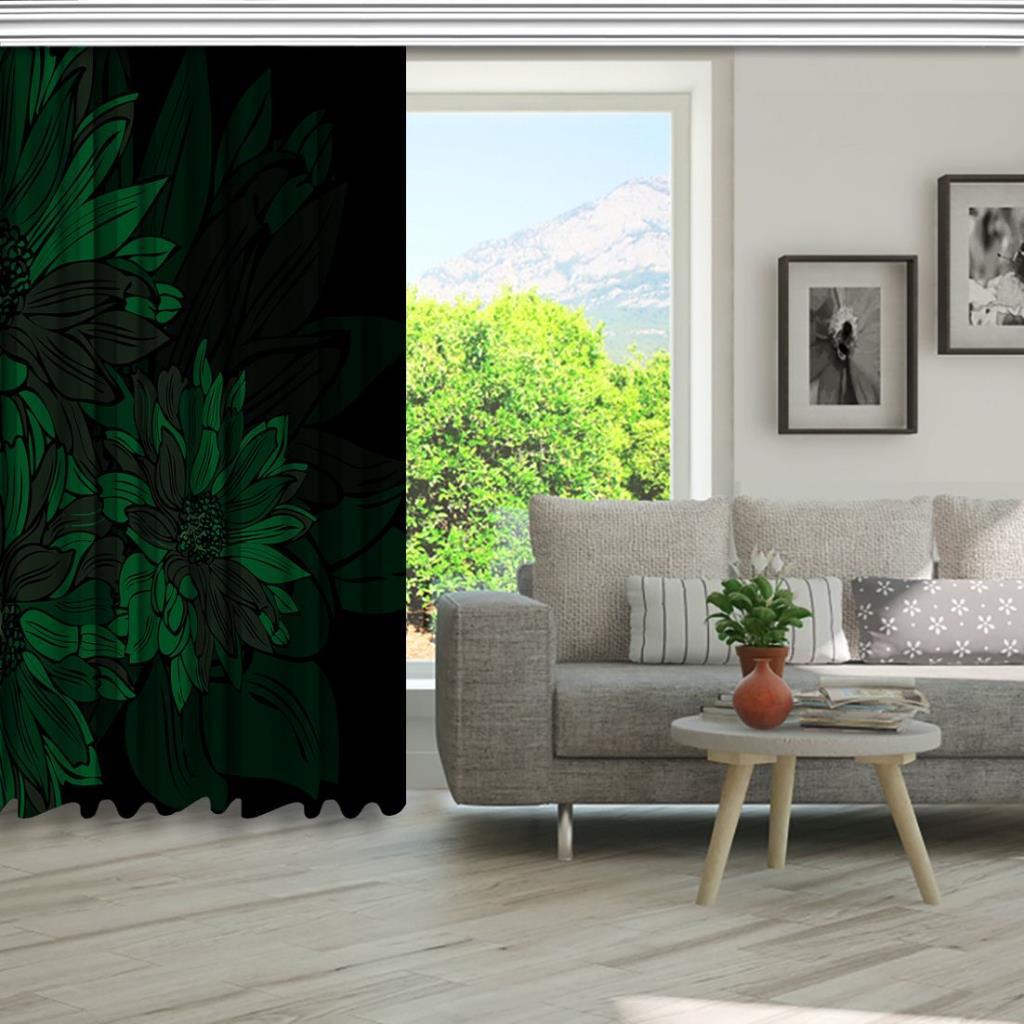 baskılı fon perde yeşil büyük çiçek gölge desenli