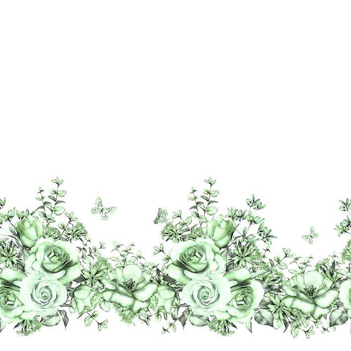 baskılı fon perde yeşil güller ve dal etkili kelebek desenli
