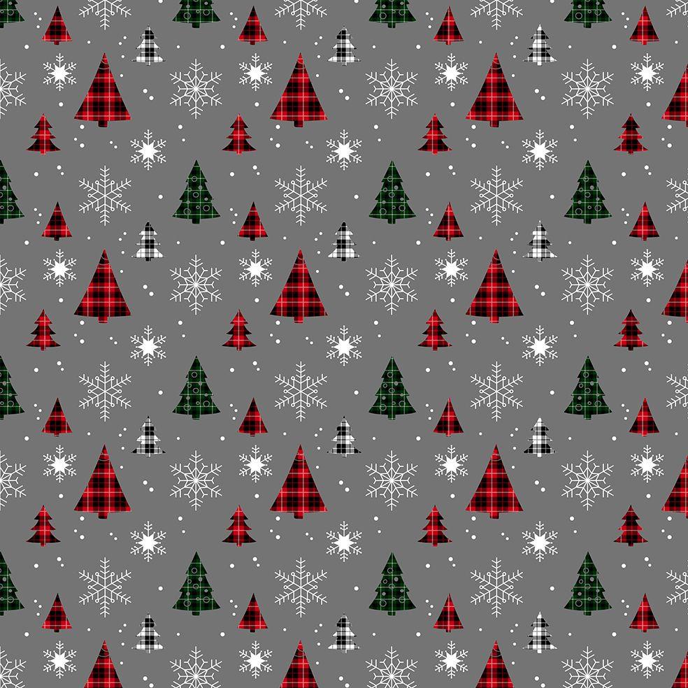 baskılı fon perde yeşil kırmızı ekose çam desenli gri zeminli desen