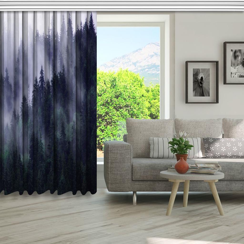 baskılı fon perde yeşil laci sis etkili uzak orman desenli
