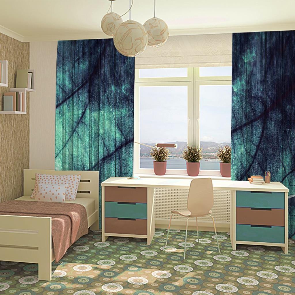 baskılı fon perde yeşil laci yaprak etkili batik desenli