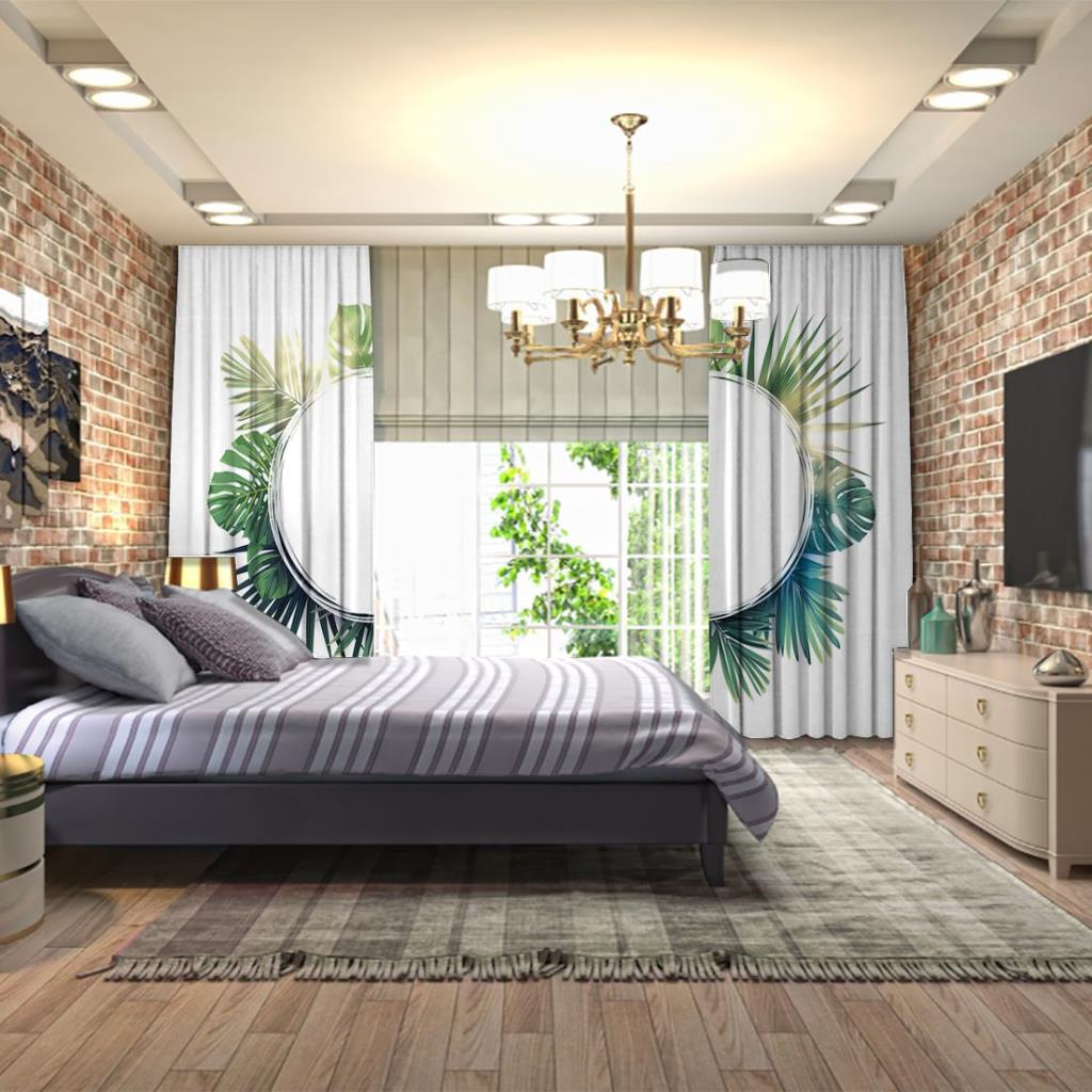 baskılı fon perde yeşil palmiye yapraklı tropikal desenli