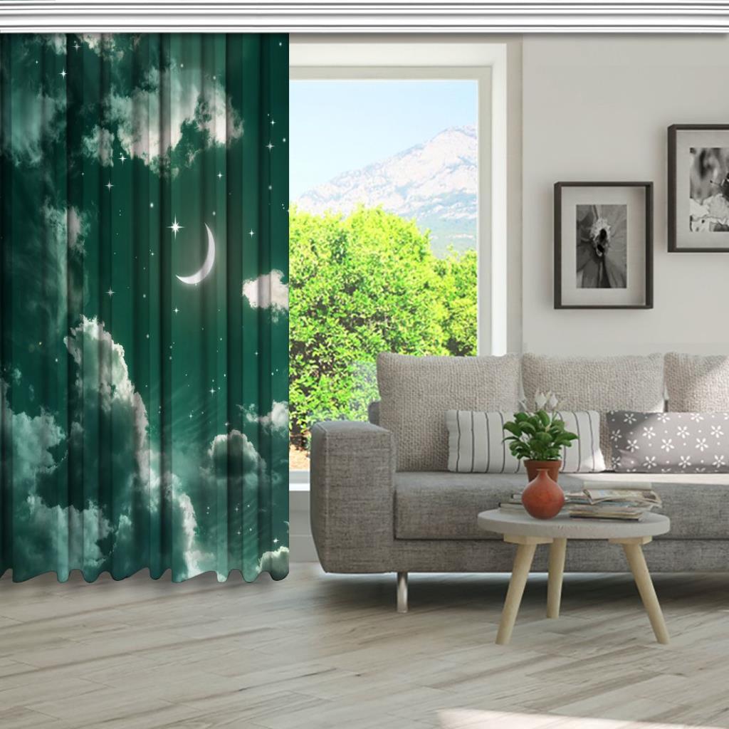 baskılı fon perde yeşil renk etkili ay ve yıldız desenli