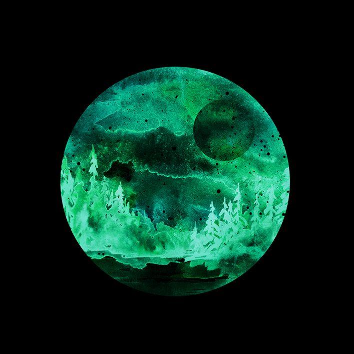 baskılı fon perde yeşil renk etkili yuvarlak ay ve ağaç desenli