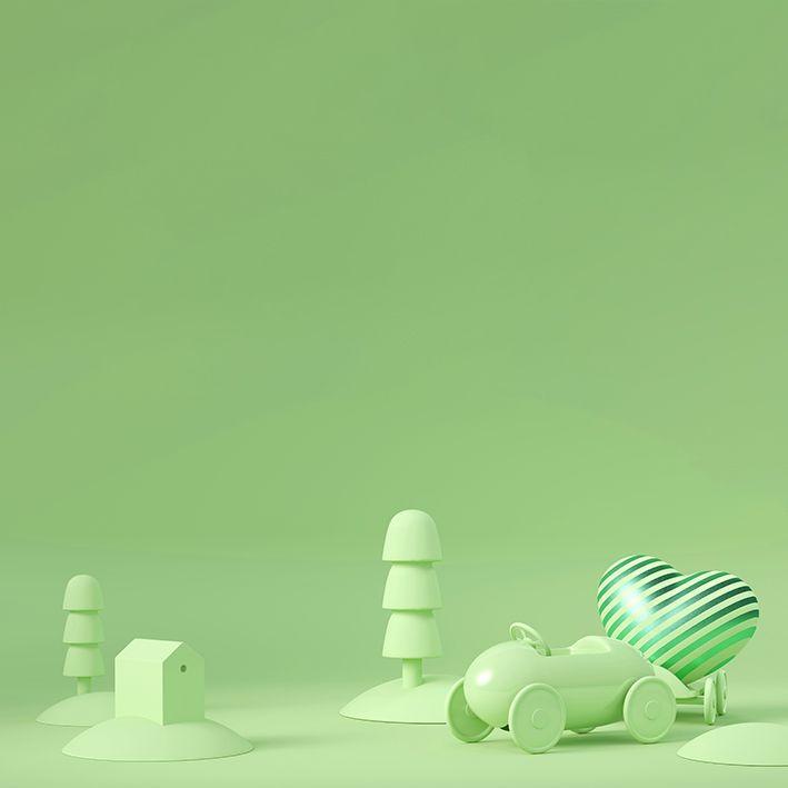 baskılı fon perde yeşil renkli küçük arabalı şehir desenli