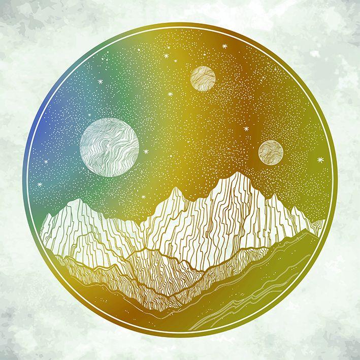 baskılı fon perde yeşil, sarı ve mavi dağ etkili yuvarlak desenli