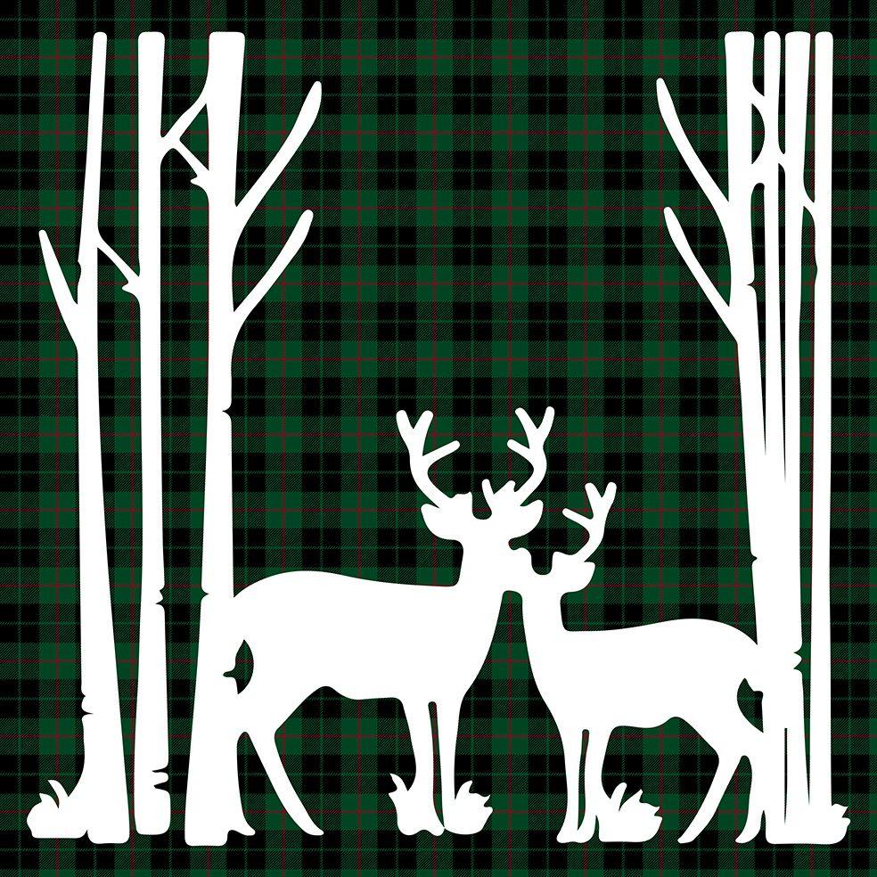 baskılı fon perde yeşil siyah kırmızı ekose üzerine geyik desenli