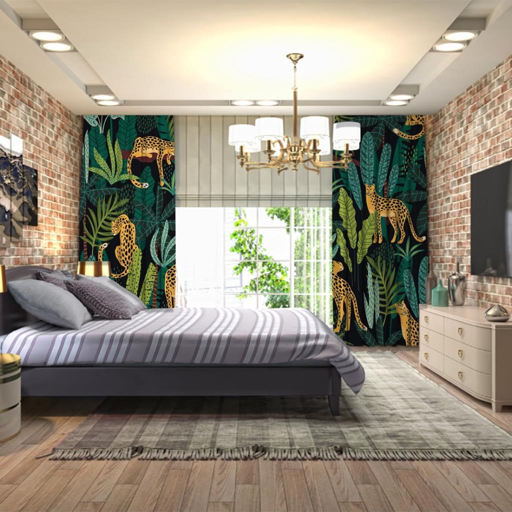 baskılı fon perde yeşil tonlu yapraklar ve leoparlı kaplan desenli