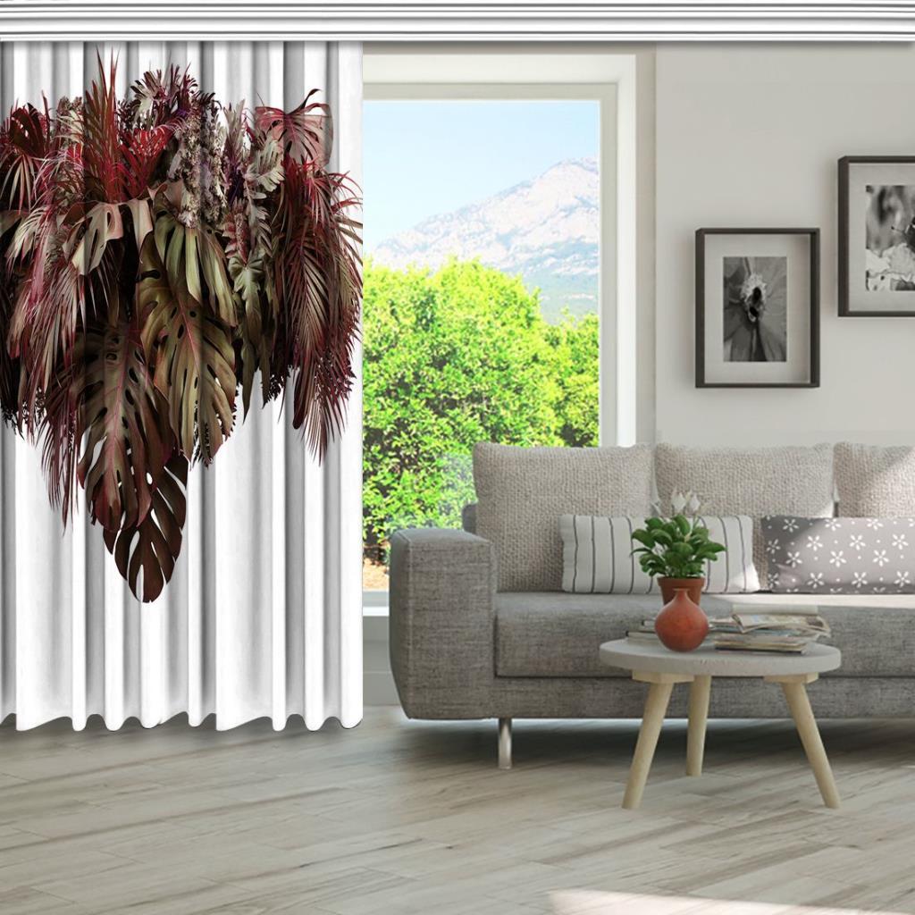 baskılı fon perde yeşil tropik yaprak aranjmanı desenli