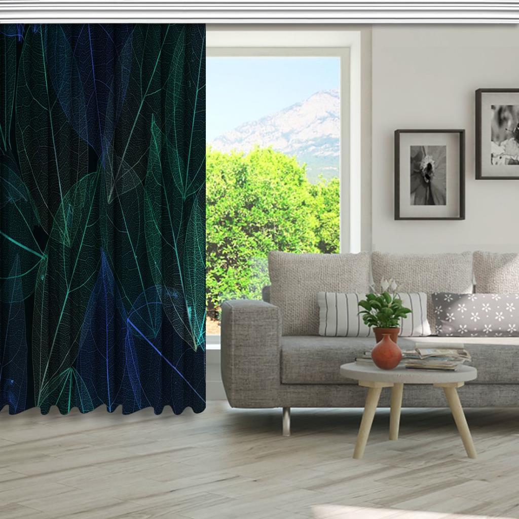 baskılı fon perde yeşil tropik yapraklı hafif görünüm desenli