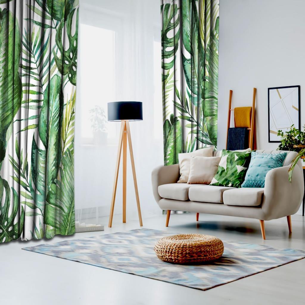 baskılı fon perde yeşil tropikal palmiye ve eğreltiotu yaprakları