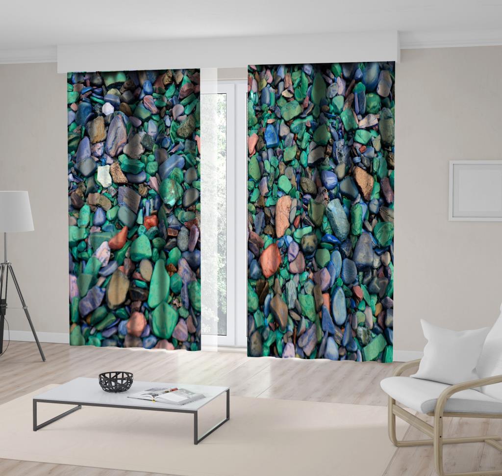 baskılı fon perde yeşil ve gri renk ağırlıklı çakıl taş desenli