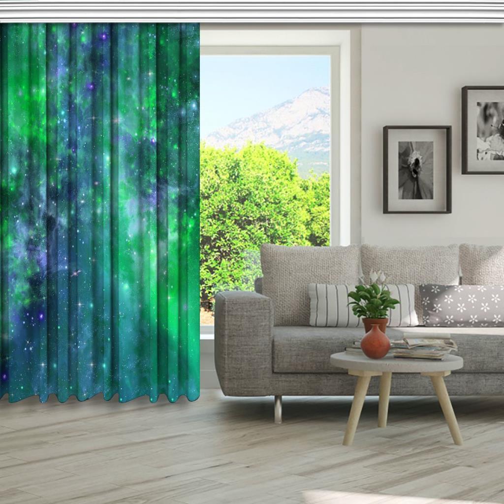 baskılı fon perde yeşil ve mor etkili galaksi desenli