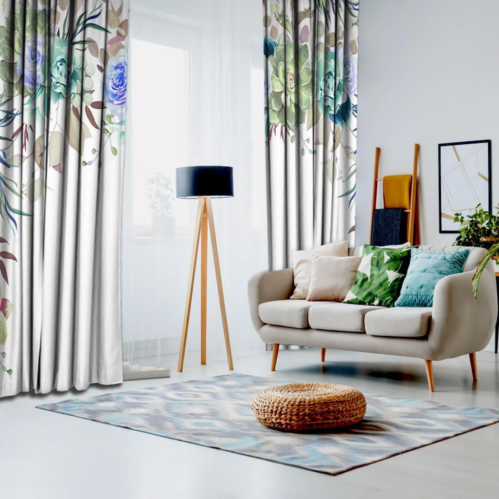 baskılı fon perde yeşil ve mor gül etkili renkli yaprak desenli