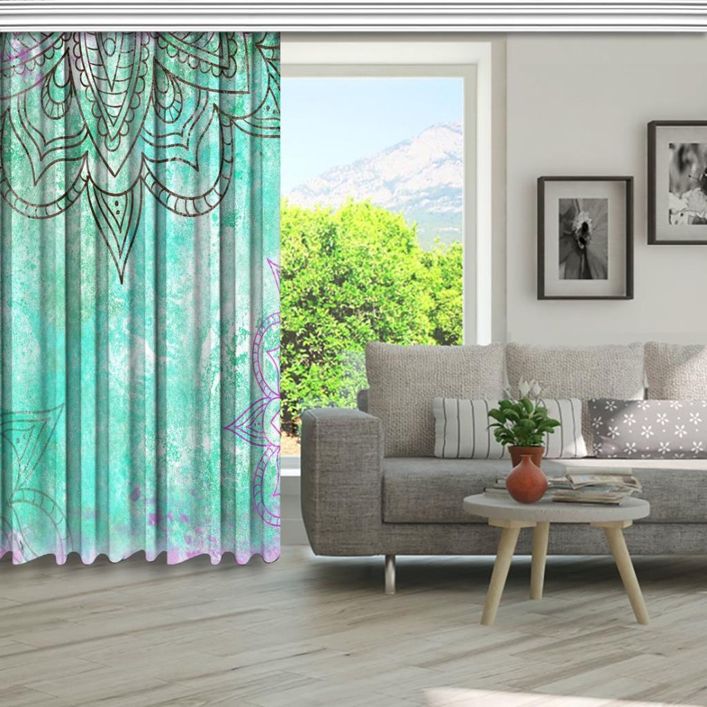 baskılı fon perde yeşil ve mor mandala desenli