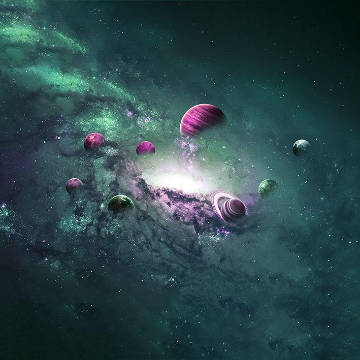 baskılı fon perde yeşil ve pembe tonlu galaksi ve gezegen desenli