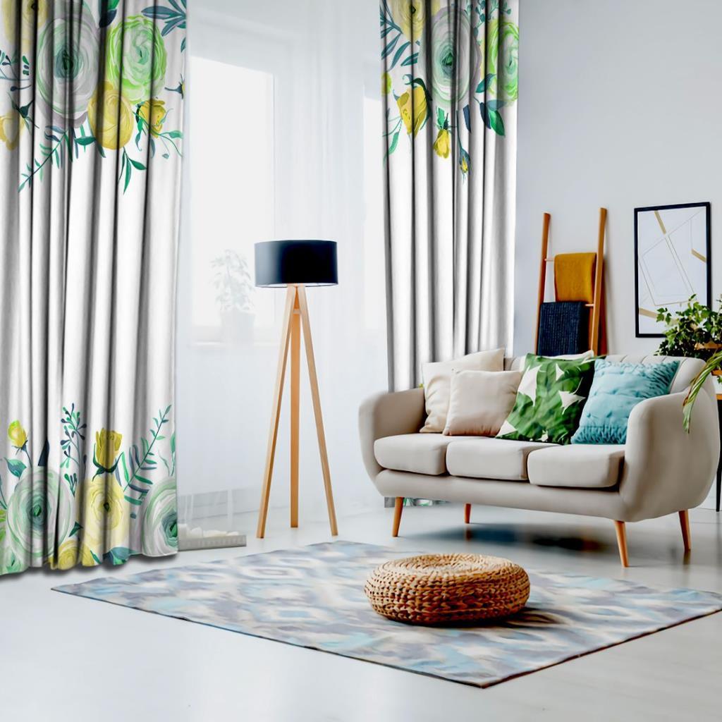 baskılı fon perde yeşil ve sarı gül etkili yeşil yaprak desenli