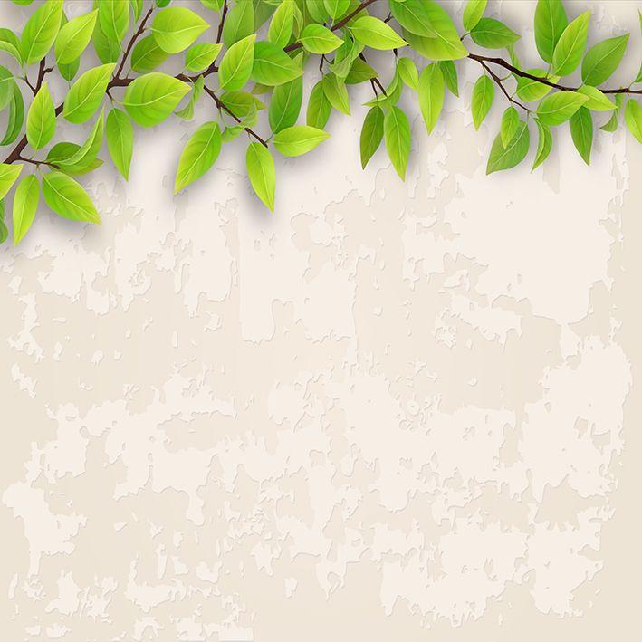 baskılı fon perde yeşil yaprak dal desenli