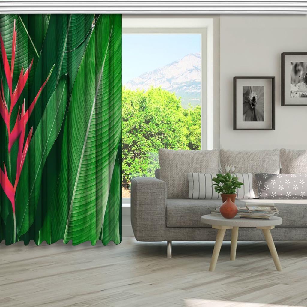 baskılı fon perde yeşil yapraklı pembe helikonya çiçeği desenli