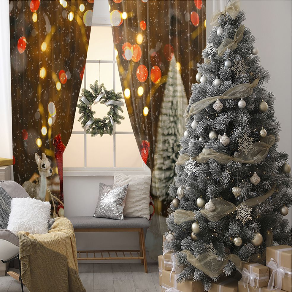 baskılı fon perde yılbaşı çam ağacı noel baba ile bokeh ışıklı hardal