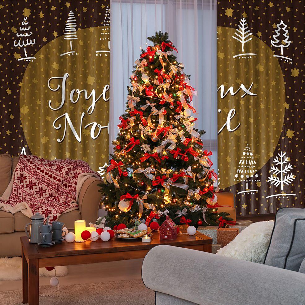 baskılı fon perde yılbaşı hediye noel ağaç ile kahve hardal renkli