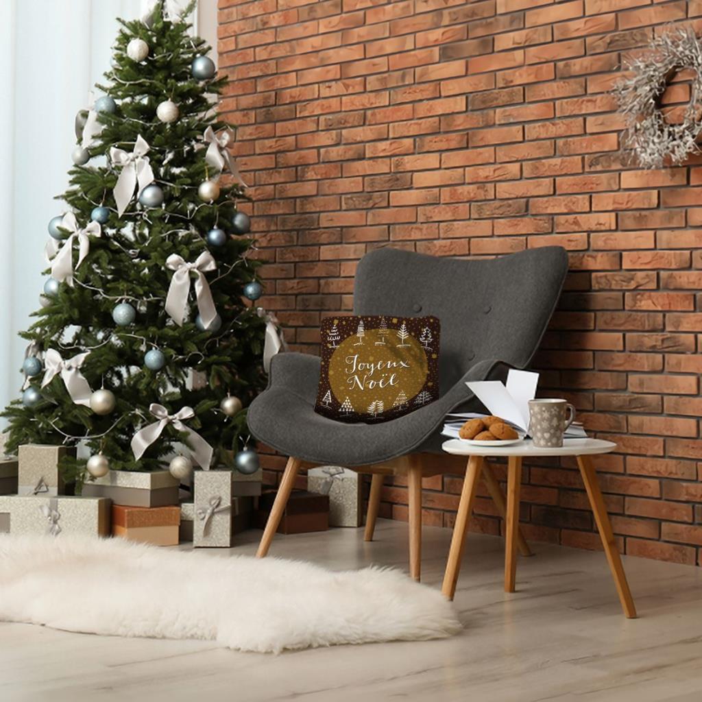 baskılı kırlent kılıfı yılbaşı hediye noel ağaç ile kahve hardal renkli
