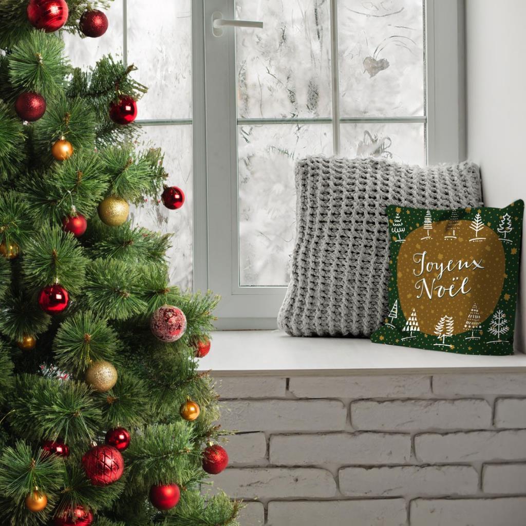 baskılı kırlent kılıfı yılbaşı hediye noel ağaç ile yeşil hardal renkli