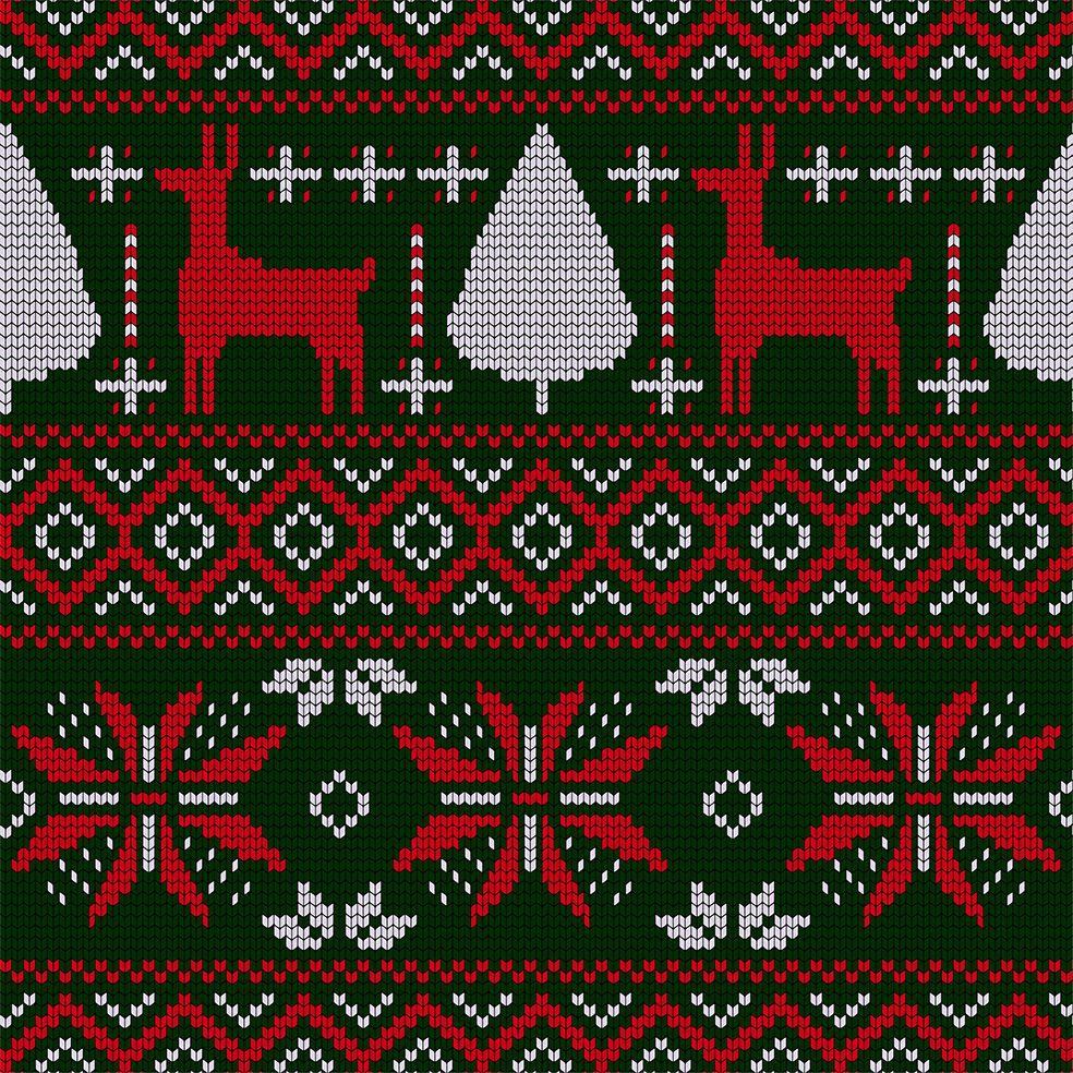 baskılı fon perde yılbaşı noel büyük örgülü yeşil üzerine kırmızı beyaz