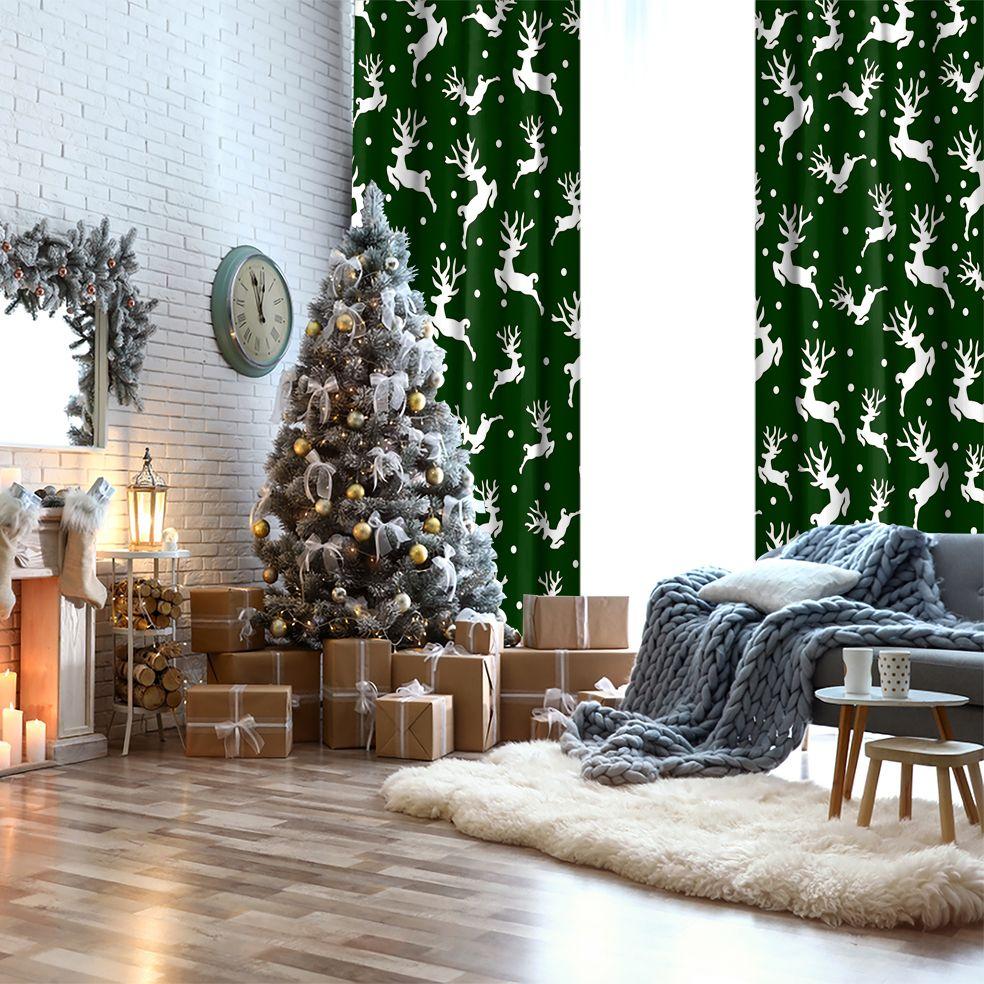 baskılı fon perde yılbaşı noel kar beyaz rengeyiği temalı yeşil renkli