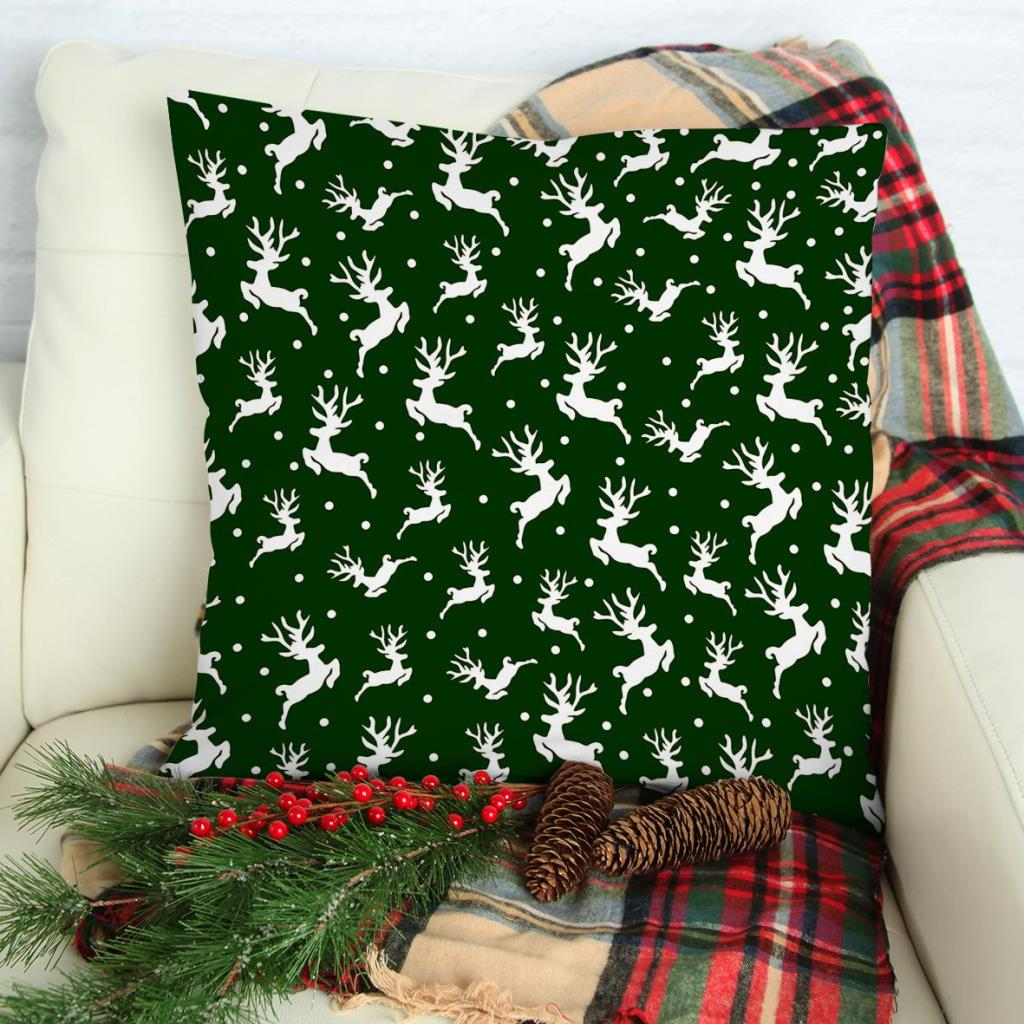 baskılı kırlent kılıfı yılbaşı noel kar beyaz rengeyiği temalı yeşil renkli