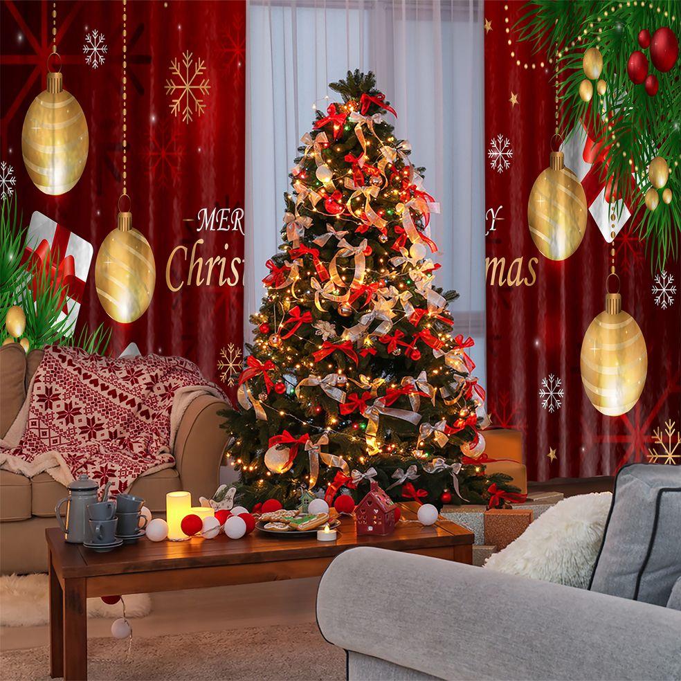 baskılı fon perde yılbaşı süsleri noel hediyeleri dallar ile kırmızı altın
