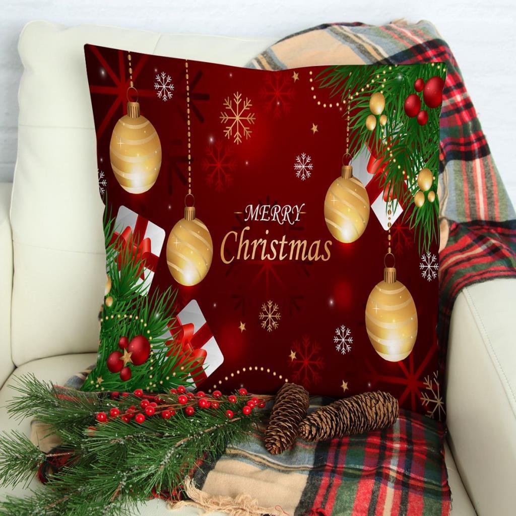 baskılı kırlent kılıfı yılbaşı süsleri noel hediyeleri dallar ile kırmızı altın