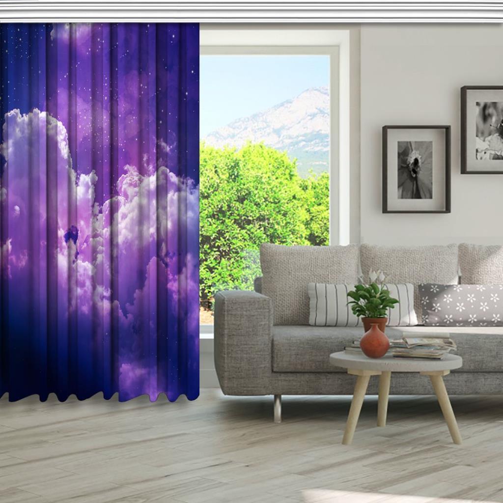 baskılı fon perde yıldız mor bulut gökyüzü desenli