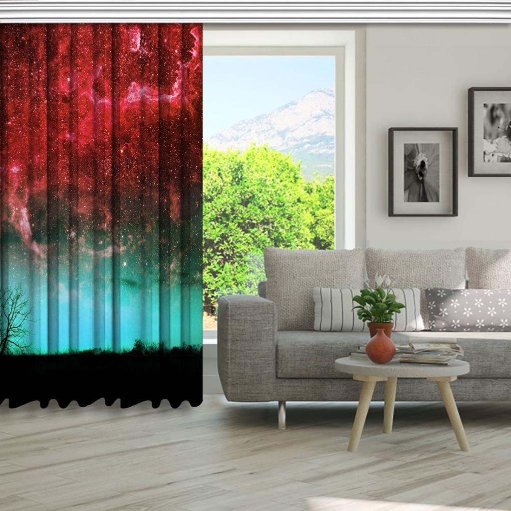 baskılı fon perde yıldız ve ağaç etkili kırmızı ve su mavisi desenli