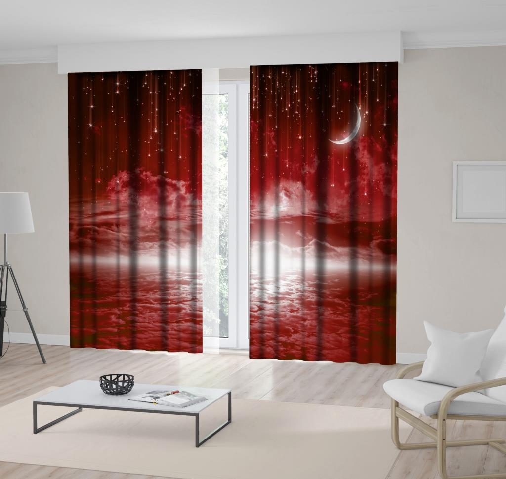 baskılı fon perde yıldız ve ay bulut etkili desenli kırmızı