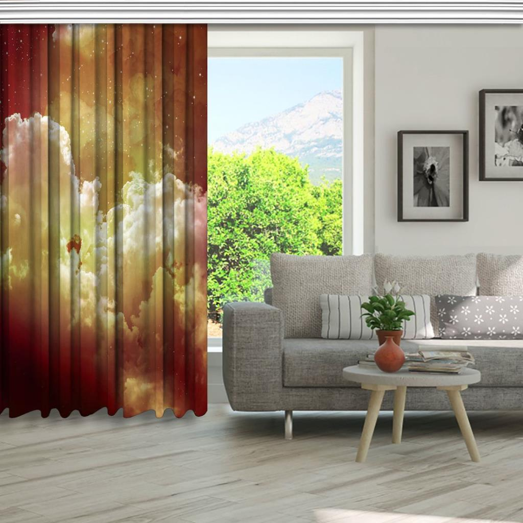 baskılı fon perde yıldız ve bulut etkili kırmızı desenli