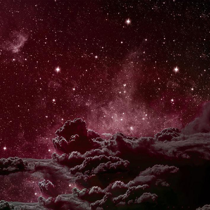 baskılı fon perde yıldız ve bulut etkili kırmızı ve ton desenli