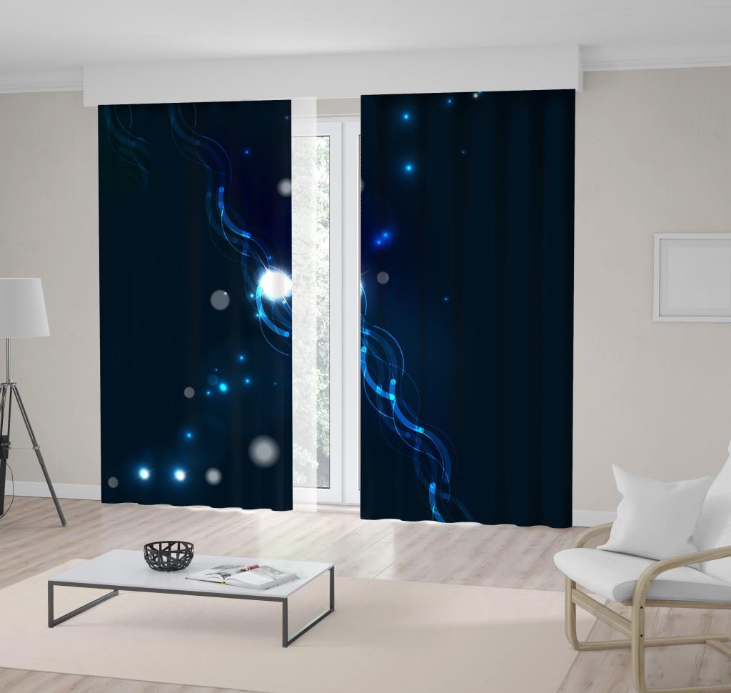 baskılı fon perde yıldız ve ışık efekt desenli mavi beyaz