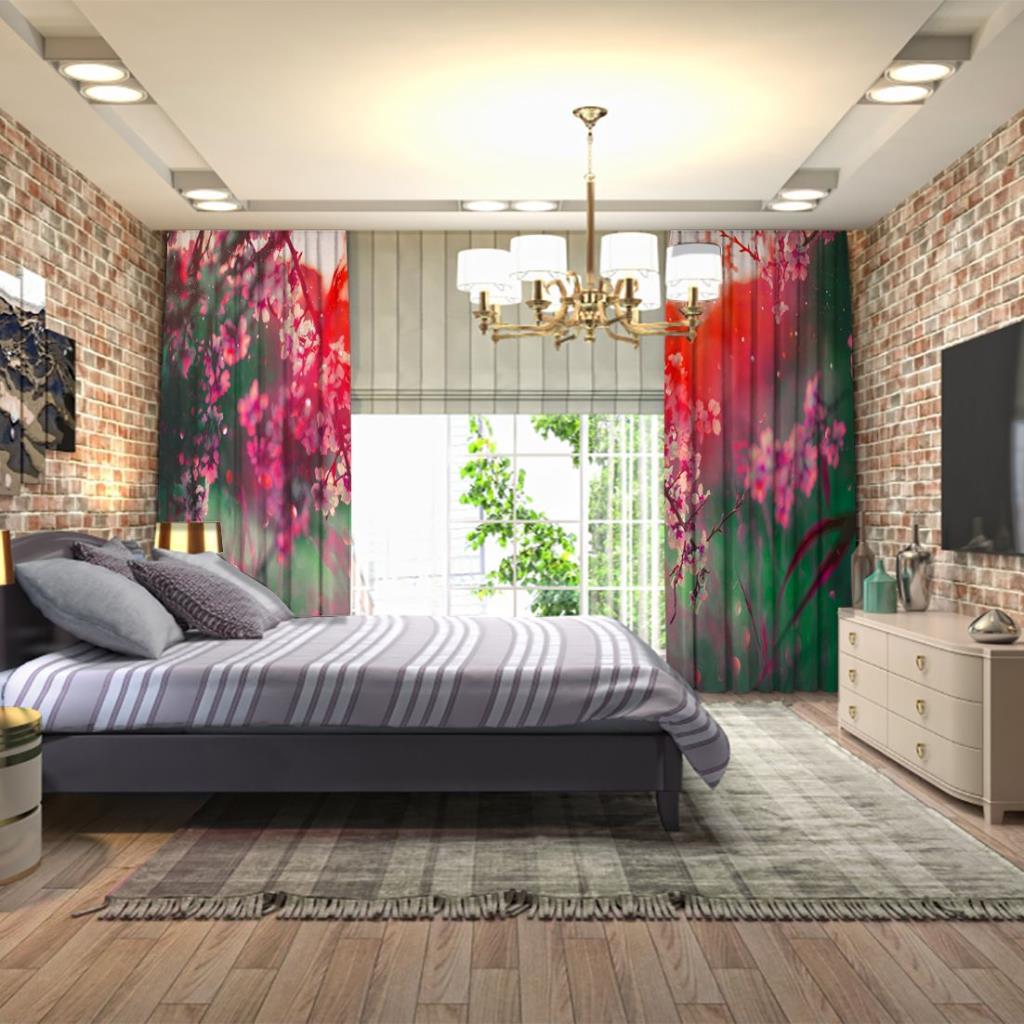 baskılı fon perde yumuşak odaklı pembe çiçekli bahar dalları desenli