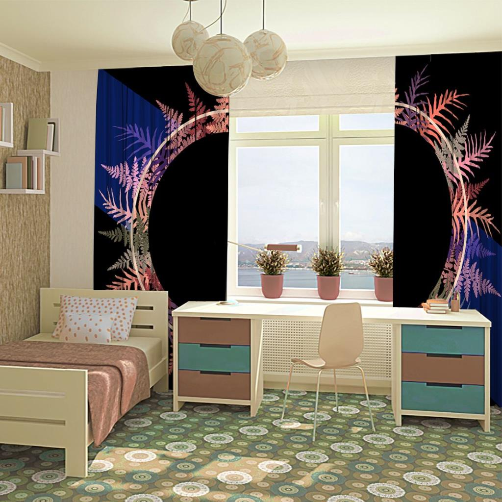baskılı fon perde yuvarlak etkili mor ve mavi renkli yaprak desenli